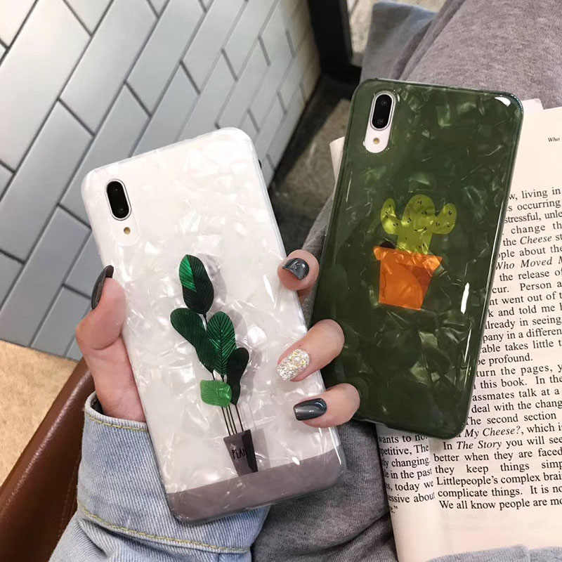 Shell texture Cases for Huawei P20 P30 Pro Mate20Pro Green plant cactus cover For Huawei Honor 9 10 Nova 3 3i 4 back funda Capa