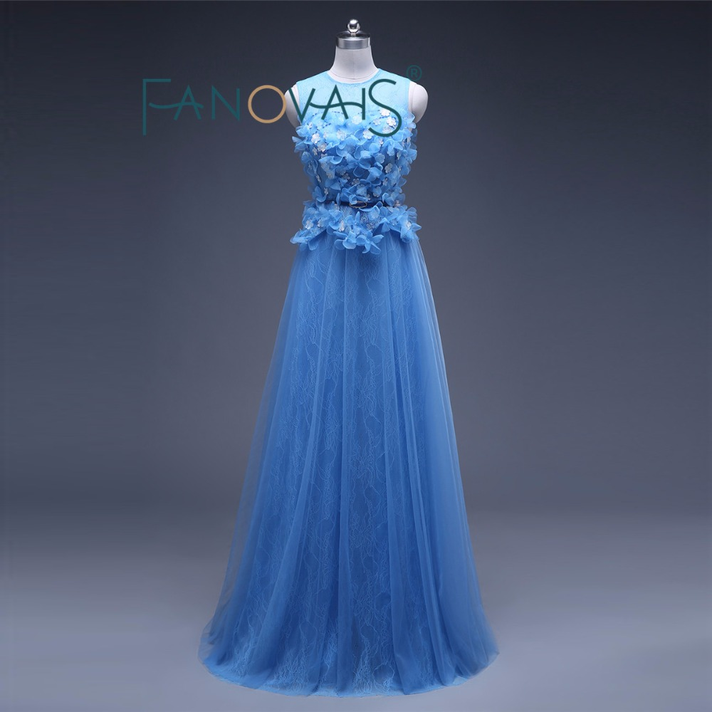 Long Evening Dress Blue Formal Imported Party Evening Elegant Gown ...