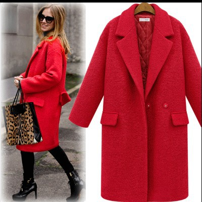 1d6ee955c51 2017 Fashion women autumn winter coat outwear thicken wool coat long jacket  plus size red