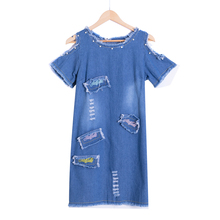 Сексуальное платье из джинсовой ткани, украшенное бисером, женское винтажное платье трапециевидной формы с вышивкой, сарафан в стиле пэчворк, пляжные вечерние платья, короткие платья синего цвета, Vestidos D74902J