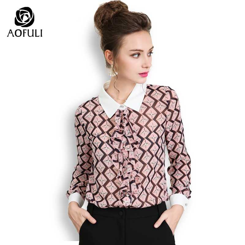 f421a10d983c AOFULI Plus Size Autumn Tops Plaid Print Shirt Women Long Sleeve Ruffled  Single-breasted Casual