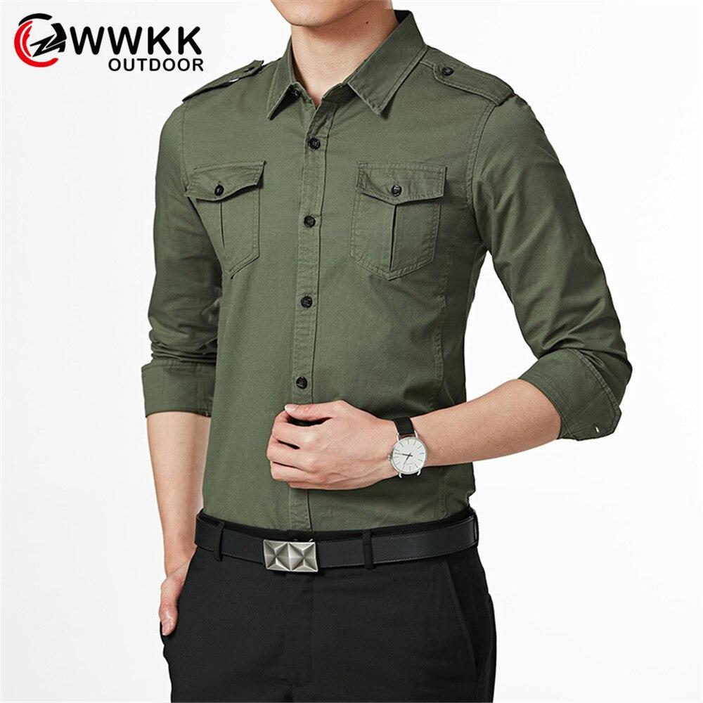 Мужская рубашка с длинным рукавом WWKK, повседневная однотонная приталенная рубашка цвета хаки, модель 5XL, 2019