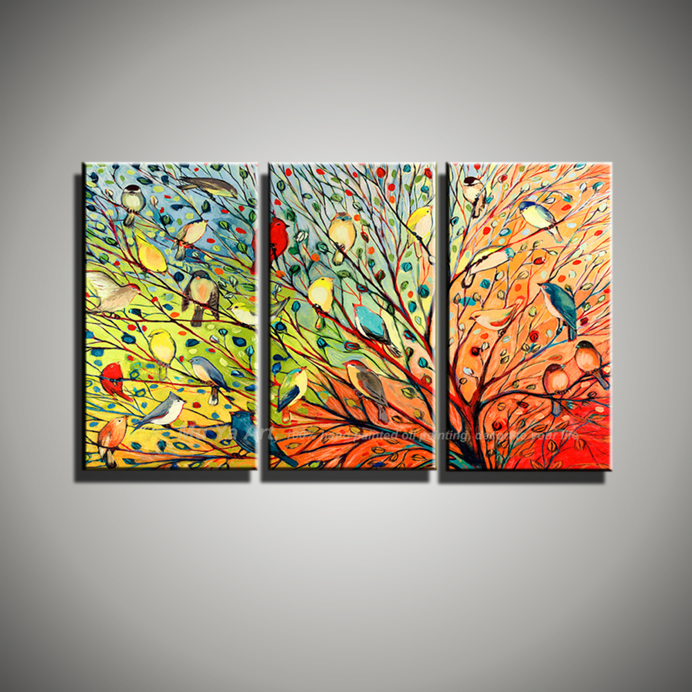 Abstract modern 3 panel canvas wall art birds funny animal ...