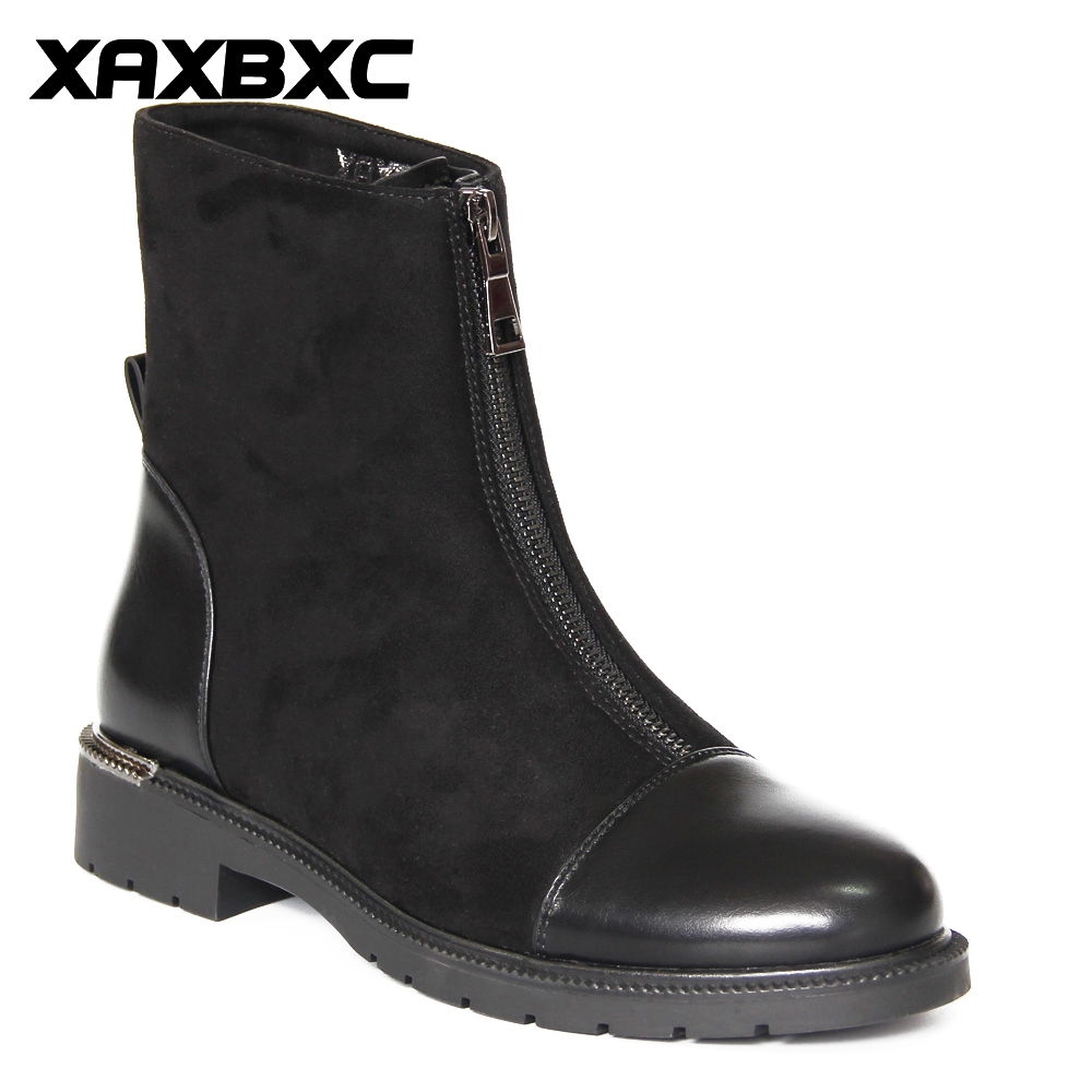 XAXBXC Retro British Style Läder Brogues Oxfords Short Boot Kvinnors Skor Crystal Zipper Round Toe Handgjorda Casual Lady Shoes