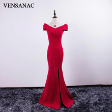 VENSANAC 2018 V Neck Satin Split Long Mermaid Evening Dresses Vintage Party Short Cap Sleeve Zipper Back Prom Gowns