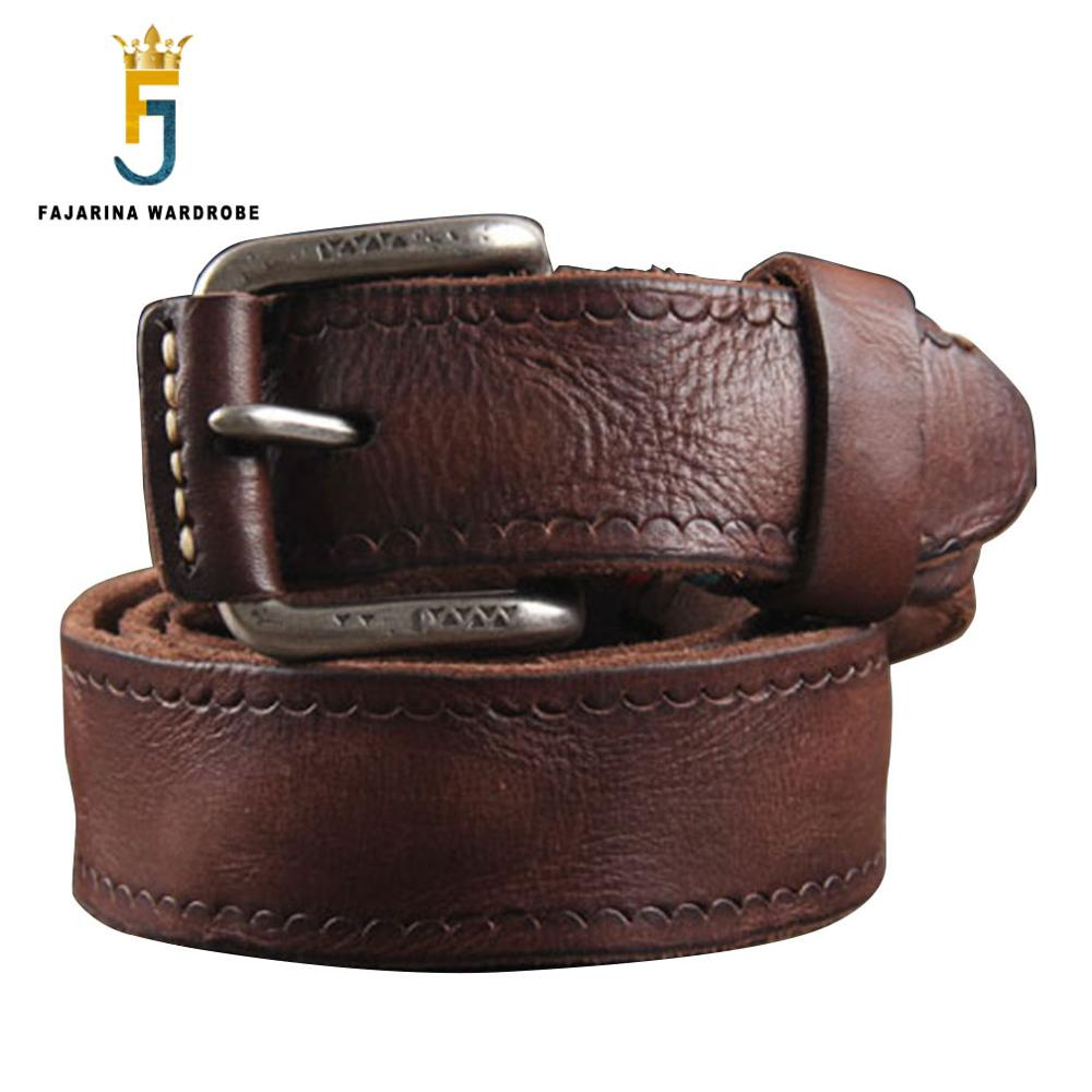 Top Quality Personality Tide Men's Cowhide Genuine Leather Belt Western Retro Styles Cow Skin Clasp Belts For Men N17FJ090