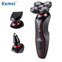 KEMEI Waterproof Rechargeable Men S Electric Beard Shaver Trimmer Triple Blade Razor 4D Floating Shaving Machine