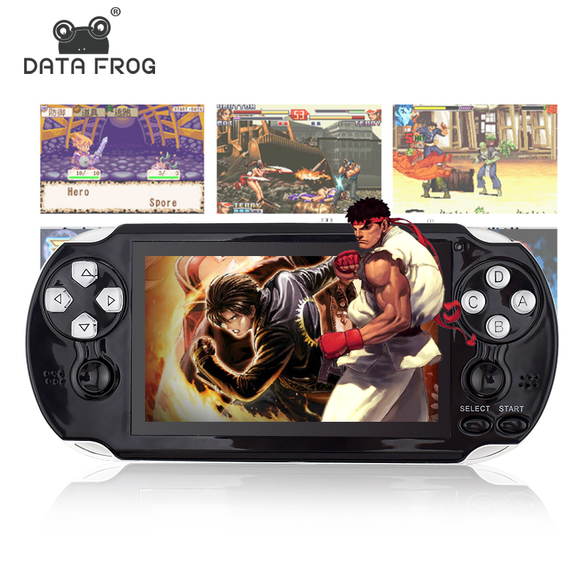 Data Frog 4.3 Inch HD Game Console 32 Bit Portable Handheld Game Players Multimedia Consoles MP5 For GBA/SMD/CP1/NEOGEO Format portable 3 inch 16 bit handheld game console black and blue
