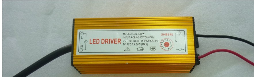 30W IP66 Waterproof Integrated LED Driver Power Supply Constant Current AC85-265V 900mA for 30W LED Bulb