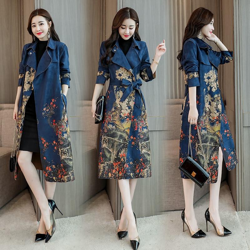 New Chinese style Femme Vintage Coat Jaqueta De Couro Feminina Women Long  faux Leather Coat turn f218d4bcc7f9