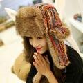 Venda quente Dos Homens Das Mulheres de Inverno Russo Trapper Hat Com a Orelha aleta da Pele Do Falso Chapéu de Esqui Na Neve Ao Ar Livre Espessamento Rainbow Bombardeiro chapéu