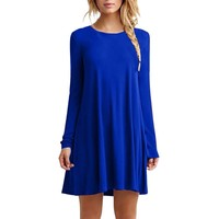 oioninos Women Fashion Dress Long Sleeve Casual Loose Dress Female Solid Dress Autumn Winter Sexy Pleated Mini Party Dresses