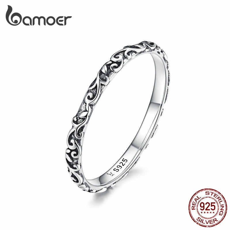 BAMOER แกะสลักรูปแบบแหวนจริง 925 เงินสเตอร์ลิงสีดำทิเบตเงินขนาดเล็กแหวนเครื่องประดับ Unisex Fine SCR513