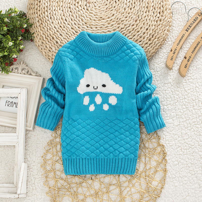 DIIMUU Baby Boys Girls Clothing Casual Print Winter Warm Long Sweater Kids Fashion Clothes Outdoor Leisure Tops 1-3 Years 3