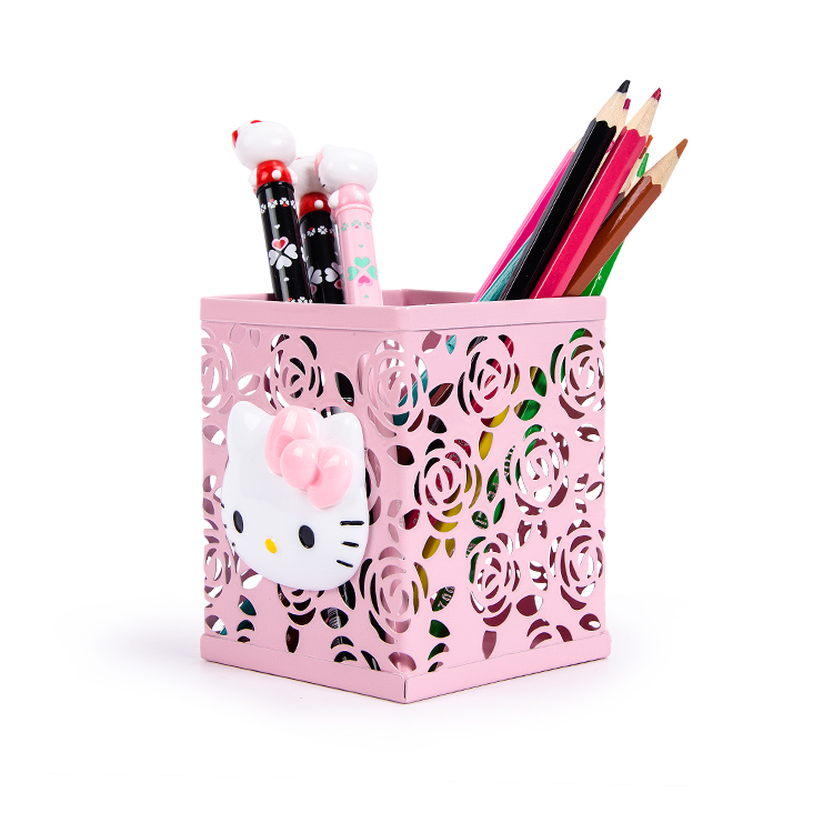 Hello Kitty Hollow-out Decorative Pattern Brush Pot KT Metal Pen Holder Cute Fashion Multifunction Desktop Storage Box