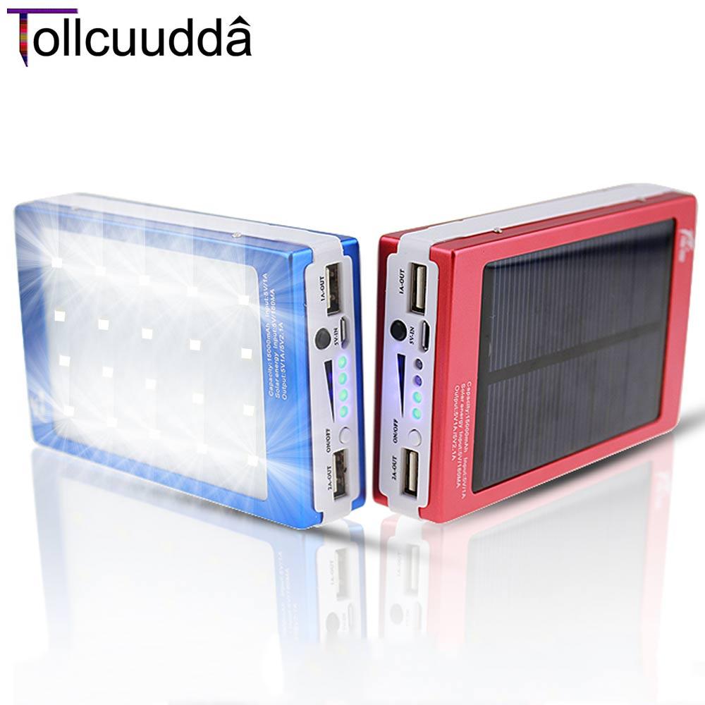 imágenes para Tollcuudda Teléfono Banco de la Energía Solar Portátil Externo Universal del Cargador de Batería Para Xiaomi Iphone Móvil Poverbank Caja de Luz LED