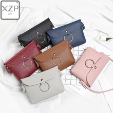 XZP Simple Pure Color Women Mini Hasp Messenger Bag PU Leather Girls Casual Shoulder Envelope Bags Female Small Handbags