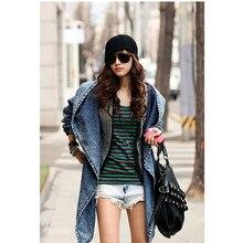 Women Denim Jeans Coat Jacket 2018 New Women Jeans Coats Vintage Long Sleeve Slim Hoody Plus Size Hooded Coat Roupas Femininos