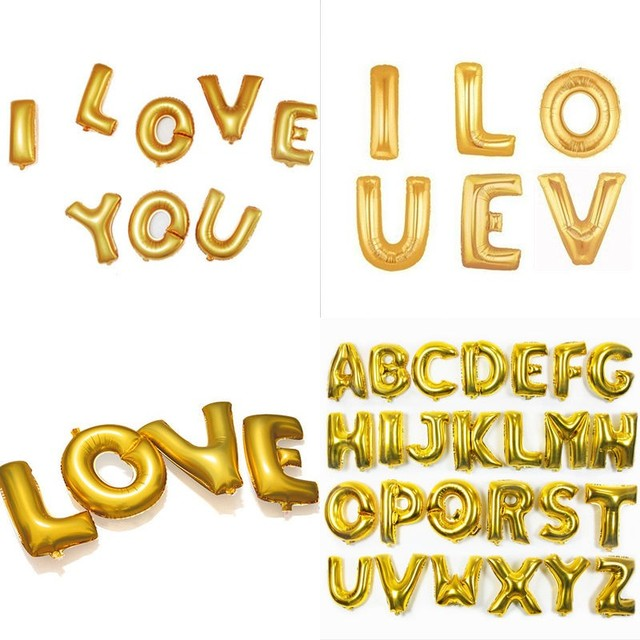 1 piece 16 inch gold foil letter balloons hot alphabet a z for new year birthday party
