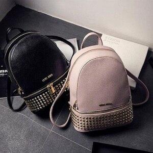 Image 1 - Women PU Leather waterproof mini travel Backpack for Girl School hand Bag High Quality Ladies small Bag Designer evening Bolsas