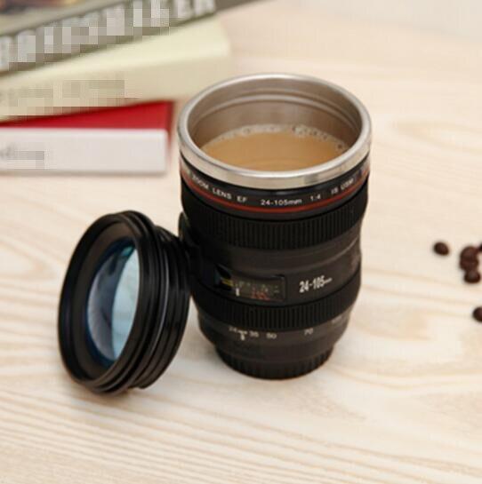 Creative 400 ml en acier Inoxydable liner Camera Lens Tasses Café Thé Tasse Nouveauté Cadeaux Thermocup Thermomug