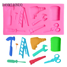 lovely Home Tools Cupcake Mold Food Grade Chocolate Hammer Screwdriver Silicone Molds Mini DIY Saw Wrench Baking Tools For Cakes цена и фото