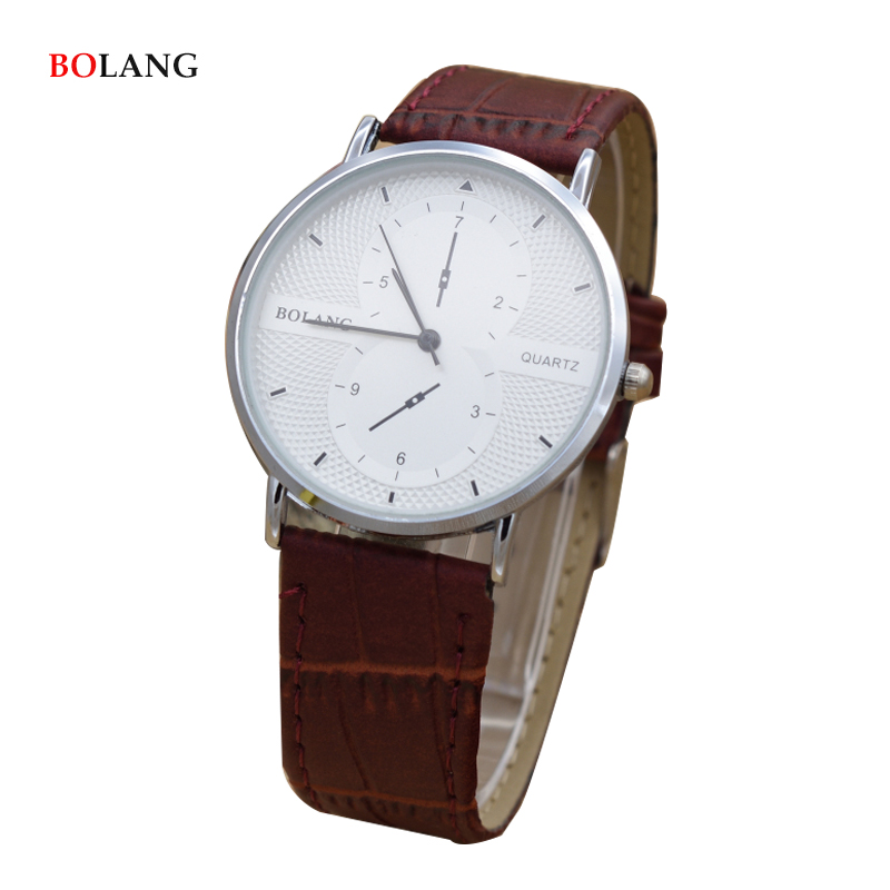 BOLANG Brief Design Creative Quartz Fashion Watch Men Casual Luxury White Black Dial Design Lovers' Pu Leather Wrist Watches fashion black turntable rectangle dial quartz sport wrist watch black pu leather boy men creative digital watches