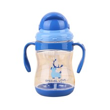 Baby Sippy Cups Kids Drinking Bottles Infant Children Learning With Double Handles & Straws 300 ml