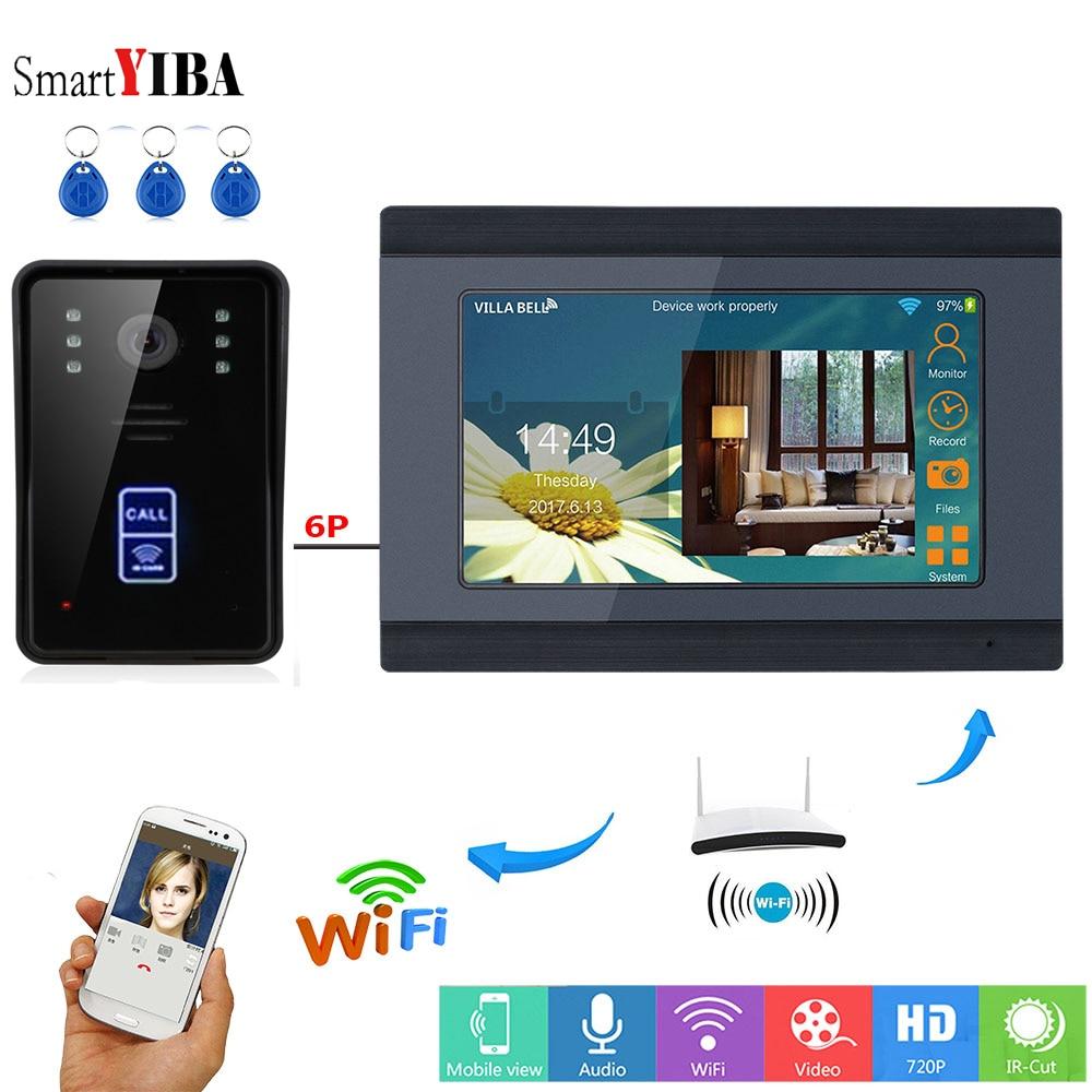 SmartYIBA APP Remote Control RFID Video Intercom 7 Inch Monitor Wifi Wireless Video Door Phone Doorbell Unlock Intercom System