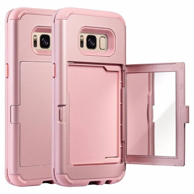 online retailer 74acc 8daba US $8.17 39% OFF|For Samsung Galaxy S8 Plus 3 in 1 Phone Case Hidden Mirror  Credit Card Holder ID Card Slot Back Cover S8+ Hard Protective Sleeve-in ...