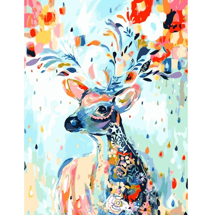 7 Colour Deer Hand Made Paint High Quality Canvas Beautiful Painting By Numbers Surprise Gift Great Accomplishment
