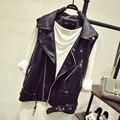 Autumn And Winter Leather Short Vest Women Waistcoat Jacket Europe Americas Style Black Leather Vest Sleeveless Jacket Plus Size
