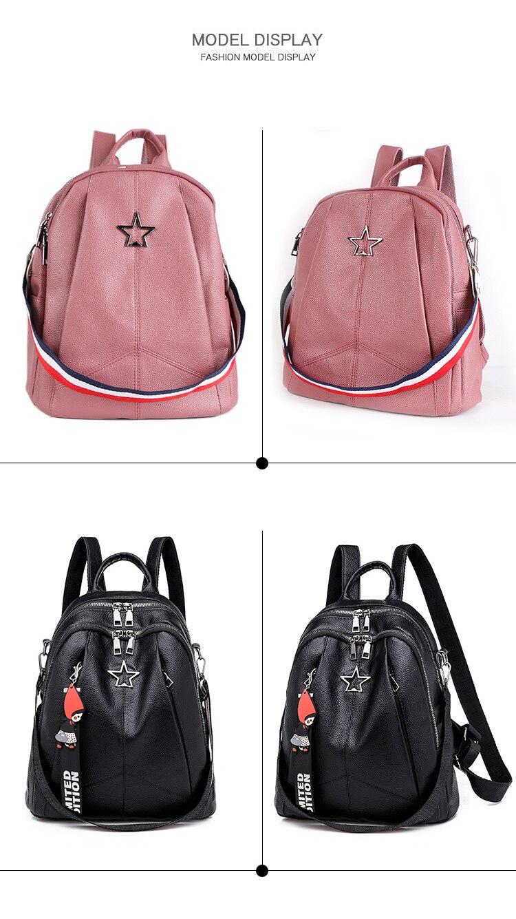 HTB1cTQdXKL2gK0jSZFmq6A7iXXaX Minimalism Female Backpack Pu Leather Youth Women Bagpack Beautiful Fashion Girl Casual Rucksacks Lady Shoulder Bag 2019 New