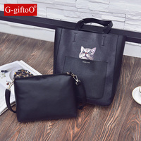 2pc Set Women Leather Bucket Tote Bags Composite Bag Casual Colorful Sling Shoulder Messenger Bags Clutch