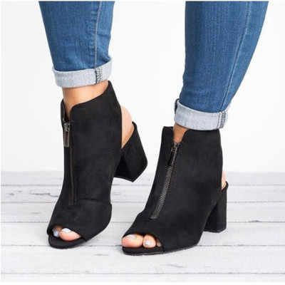 Yeni yarım çizmeler Faux Süet Deri Rahat Açık Peep Toe Yüksek Topuklu Fermuar Moda kare kauçuk siyah ayakkabı Kadınlar Için Boyutu 34- 43