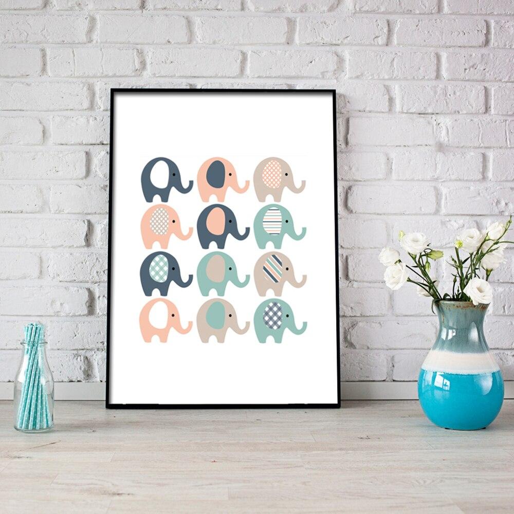 US $4 23 OFF Kartun Kecil Yang Lucu Gajah Kanvas Cetak Lukisan Poster Dinding Gambar Seni Untuk Kamar Anak Anak Dekorasi Rumah Dibingkai LZ591 Art
