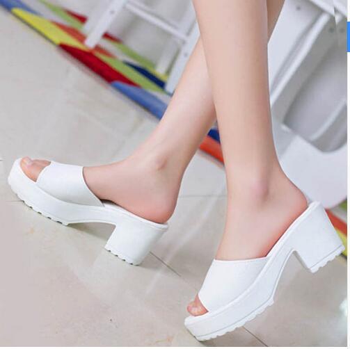 Mujeres Del Verano zapatos de plataform moda blanco Negro suave sandalias alto de las mujeres gruesas sandalias de gratis