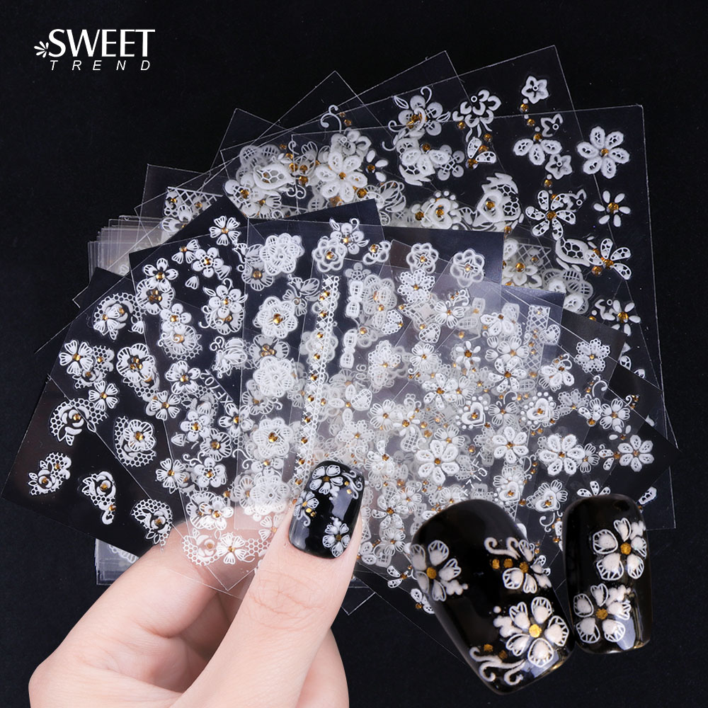 30Sheets White Flower 3d Adhesive Nail Art Stickers Decals Floral  Rhinestones Designs Stickers For Nails Art Decor LAXF699-722 b5c9d1c9dc17
