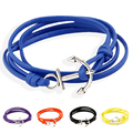 Leather Bracelet Men Multilayer Bracelet Jewelry Man Anchor Bracelet Wristband Wrap Charm Braclet For Male Accessories