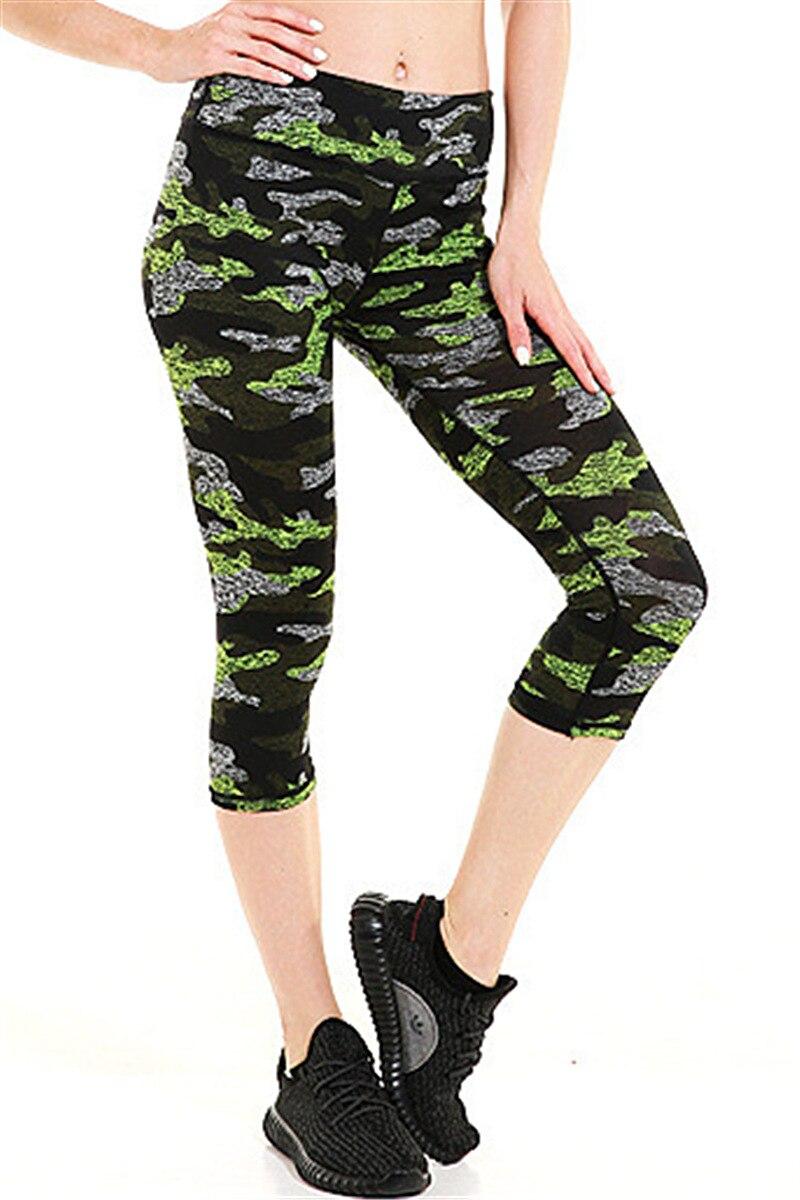 Ženy Deep Green Camouflage Fitness Cvičení Legíny Rychleschnoucí střední kalhoty Energetické kalhoty Kalhoty Ropa Mujer