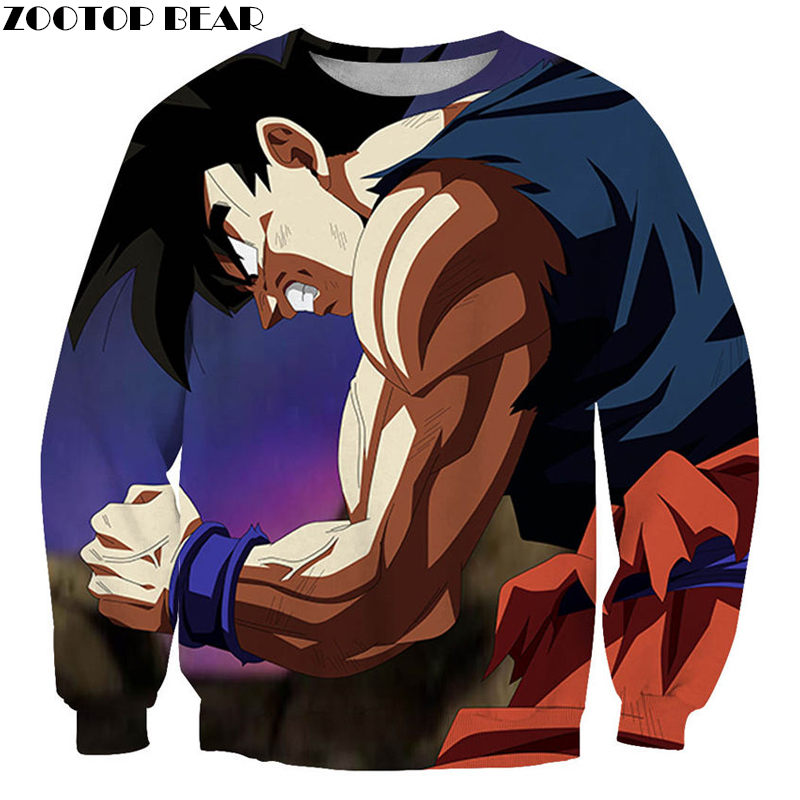 Trend Couples Streetwear Round Neck Long Sleeves Men Woman Sweatshirts DragonBall Super Pullovers 3D print Casual ZOOTOP BEAR