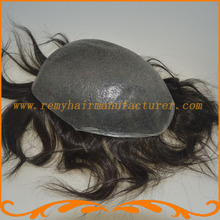 Mens toupee thin skin base size 8*10inch or other size Indian remy hair men's wig stock free shipping
