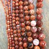 Hot Sale Round Fire Agates Loose Beads Jewelry Faceted Agates Beads Jewelry Making Findings In 4
