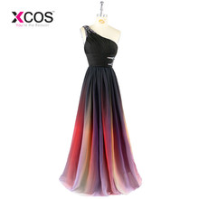 Prom Dress New Gradient Colorful Cheap Dresses Ombre Chiffon Evening Dress One Shoulder with Pleats Women Dress 2017 SC274