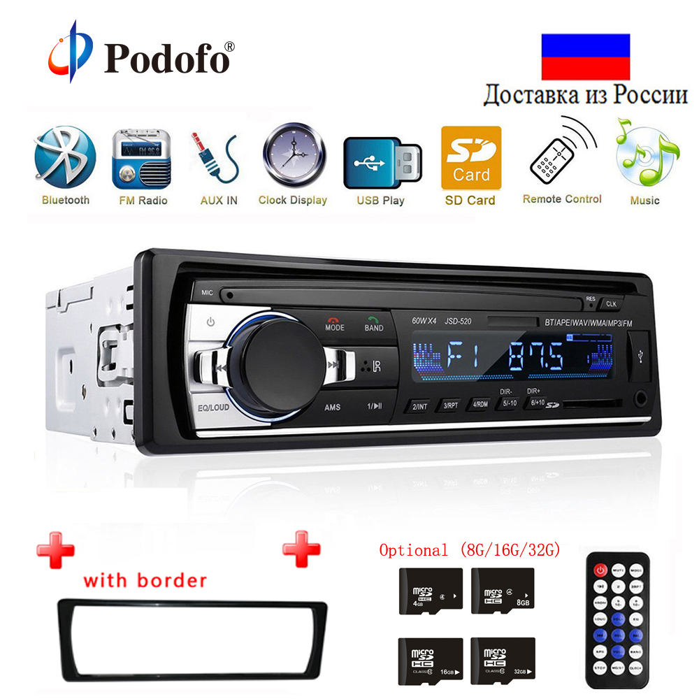 Podofo Autoradio JSD-520 12V In-dash 1 Din Bluetooth Car Radios SD MP3 Player Auto Audio Stereo FM Receiver Aux Input(China)