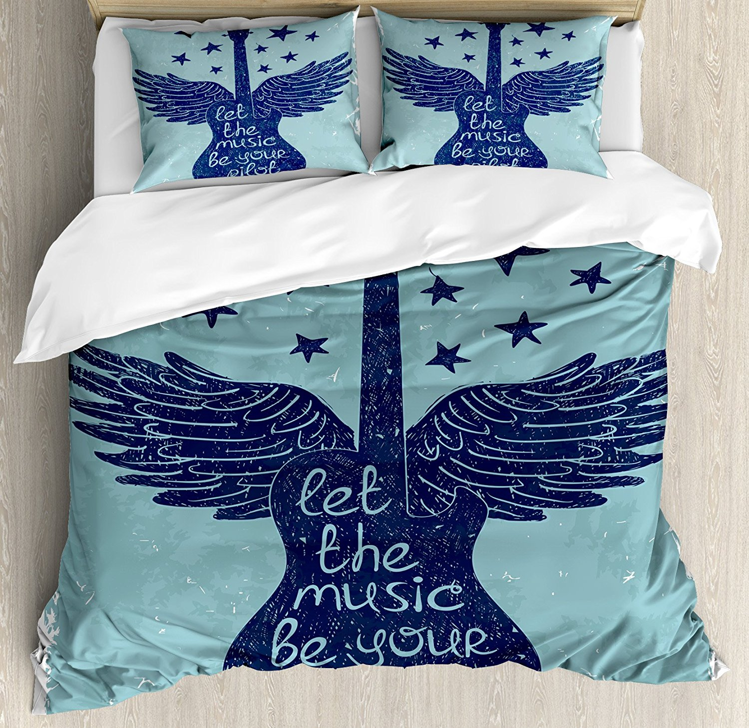 Music Duvet Cover Set Let the Music Be Your Pilot Quote Winged Electronic Guitar and Stars Retro Print Decor 4pcs Bedding Set