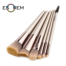 ESOREM 6pcs Champagne Color Handle Makeup Brushes Soft Bicolor Hair Make Up Brush Cosmetic Tapered Blush Shader Pincel Maquiagem high quality 6pcs lot eye ombre mermaid tail handle makeup brushes pincel maquiagem make up set tool with synthetic hair