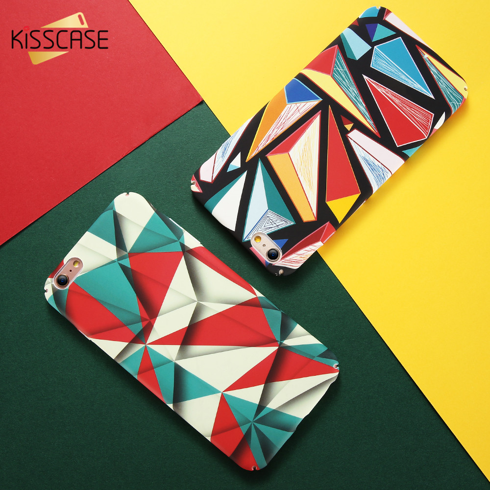 KISSCASE Case For iPhone 7 7 Plus 8 8 Plus Phone Case Luxury Abstract Mondrian Colorful Hard PC Cover For iPhone X 5s 6 6S Plus