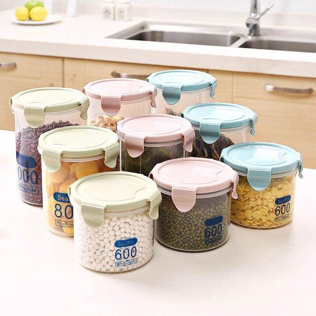 3PC Round Transparent Sealed Pot Kitchen Grain and Food Storage