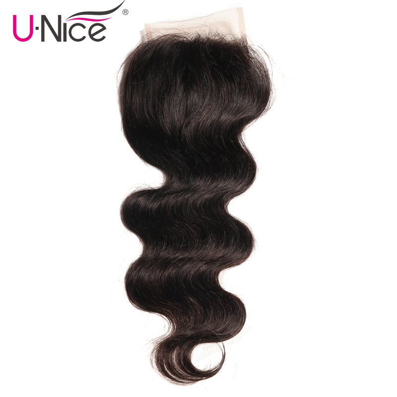 UNICE HAIR 1 Piece Malaysian Body Wave Closure Free Part Remy Hair Lace Closure 4 x4